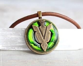 green arrowhead necklace, arrow necklace, arrowhead jewelry, arrow jewelry, tribal necklace, unique gift, mens necklace, boyfriend gift