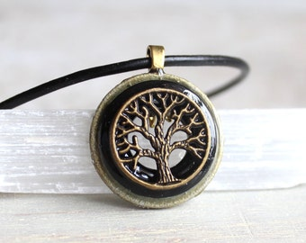 black tree of life necklace, mens jewelry, celtic jewelry, mens necklace, unique gift, nature necklace, wiccan necklace, mens gift, oak tree