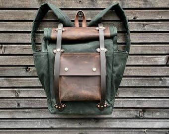 Wax Canvas Backpack medium size / Hipster Backpack with roll up top and double bottle pocket