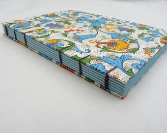 Florentine notebook A6, flowers, fruit, coptic, blue