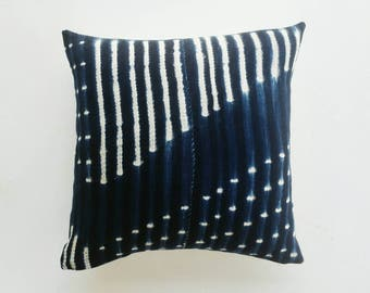 African Mudcloth Pillow Cover - Vintage Indigo Pillow - Modern Boho Decor