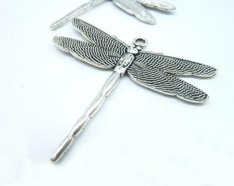 10pcs 40x46mm Antique Silver Dragonfly Charm Pendant c5550