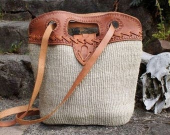 Jute and Tooled Leather Tote Market Bag Purse