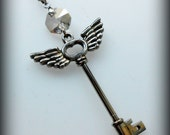 Gift for Her/Holiday/Personalized Gift/Steampunk Jewelry/Rock Jewelry/Key Charm Necklace/Winged Heart/Skeleton Key/Angel Wings/Silver Key