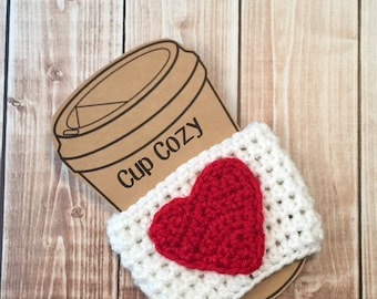 Valentine's Day Coffee Cup Cozy/Coffee Cup Cozies/Heart Coffee Cup Cozy/Crochet Coffee Cup Cozy in White and Red MADE TO ORDER