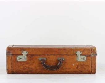 Vintage Leather Suitcase, Vintage Suitcase, Old Leather Suitcase, Brown Leather Suitcase, Vintage Luggage, Photography Prop, Suitcase