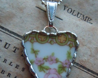 Fiona & The Fig Antique -Broken China - Pink Roses - Soldered Necklace Pendant Charm- Jewelry