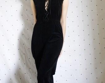 Clean Out Sale! 35 to 32! 70s 80s Lace Up Jumpsuit//Vintage Bohemian  Lace up Black Velvet Jumpsuit// 1970s Vintage bell bottom jumpsuit