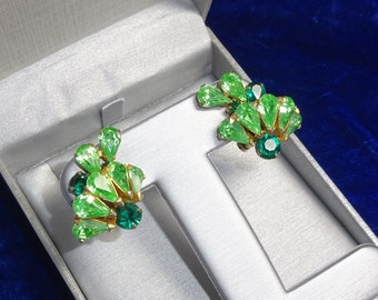 Beautiful Big rhinestone earrings, Emerald  and Peridot colored  rhinestones,  clip ons