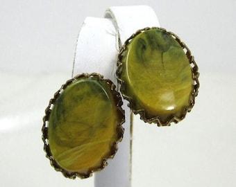 ON SALE Vintage Bakelite Earrings, Green Yellow Bakelite Earrings, Marbled Bakelite