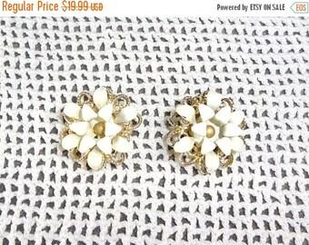 ON SALE Sarah Coventry White Enamel  Flower Earrings