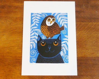 Owl and Cat, Original Linocut Print, Signed Open Edition, Free Postage in UK, Hand Pulled, Printmaking,