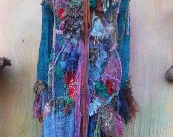 20%OFF gothic bohemian boho lagenlook jacket gypsy knit jacket coat ....work of art!!