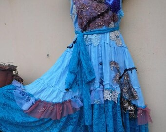 "20%OFF bohemian gypsy lagenlook bridesmaid hippy shabby chiffon dress ...small to 34"" bust"