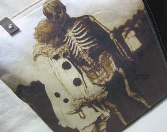 Vintage Halloween Photo Tote Bag - Clown/Skeleton Couple