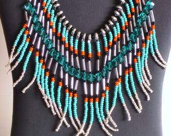 Native American necklace, turquoise, teal, orange, silver and black