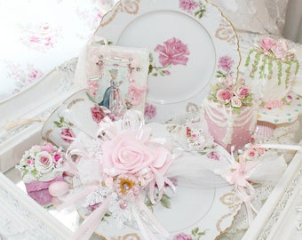 Princess Pink Lace Rose Donut Tea Party Spoon Tea Time teacup Marie Antoinette Sparkling Shabby Chic Love  Roses Valentine Christmas