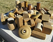 Vintage Wooden Building Blocks - Lot of 58 Natural Wood Blocks All Shapes & Sizes