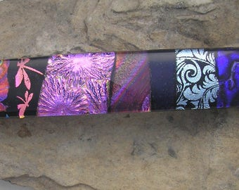 Pink and Purple Barrette Fused Dichroic Glass Barrette Mosaic French Barrette