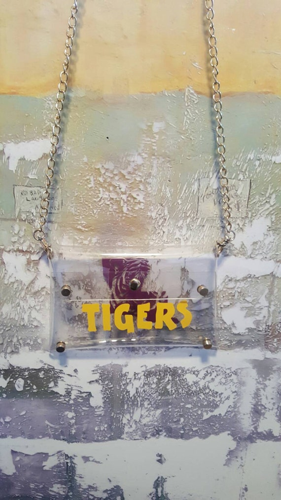 Clear cross body purse, LSU purse, Tigers purse, LSU cross body purse, Stadium Approved Purse, Clear Football Purse