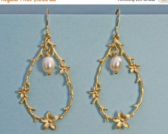 20% off. Jasmine flower teardrops with a single freshwater pearl