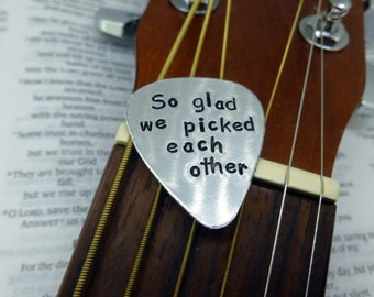 Hand Stamped Metal of Your Choice Guitar Pick - Anniversary, Date, Quote, Monogram, Gift for Music Teacher, Gift for Him or Her