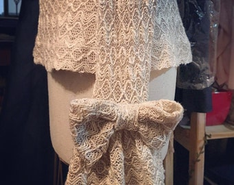 loosely knit cotton lace beige tunic