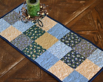 """Quilted Table Runner (12"""" x 28"""") Calico Cotton Quilt, Country Table Runner, Little House on the Prairie"""