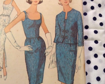 """Vintage Simplicity 5658 Party Cocktail Dress or Gown and Jacket Sewing Pattern 34"""" Bust"""