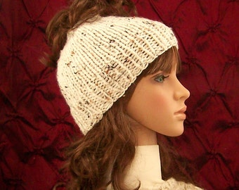 Hand knit messy bun hat, knit ponytail hat - made to order in your color choice - Women's Winter Accessories Sandy Coastal Designs