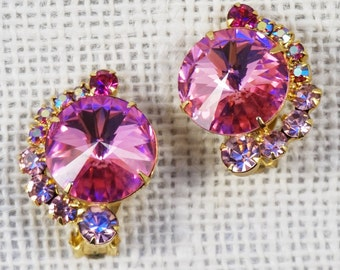 Juliana Delizza & Elster Large Pink Rivoli Crystal Rhinestone Earrings