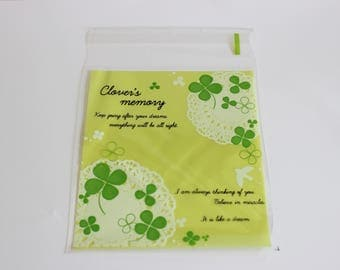 Four Leaf Clover Cello Bags Green and White Favors Self Adhesive 24+ Weddings / Baking / Cookies / Parties/St. Patrick's Day