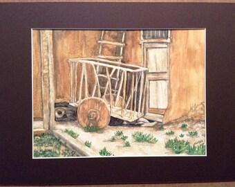 Old Wagon in New Mexico - Original watercolor