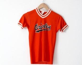 Orioles baseball t-shirt, vintage orange jersey tee