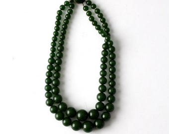 SALE green two strand necklace, vintage beaded multi strand necklace