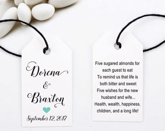 Jordan Almond Wedding Favor Tags - Traditional Poem, Dragees, Koufeta, Sugared Almonds, Five Wishes, Bonbonaire - Size 1.25 x 2.25 Set of 25