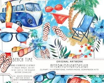Beach Time Clipart Holiday Summer Vacation Surf Watercolor Handpaited Palm Retro Caravan Swimsuit Sunglasses Flipflops Deckshair