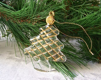 Vintage Glass Tree Christmas Ornament Gold Accent Holiday Ornament 1990s