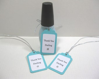 10 Breakfast at Tiff... Aqua Blue Fingernail Polish Favor Tags - Thank You Darling - Audrey Hepburn - Bridal Shower Favor Tags -Baby Shower