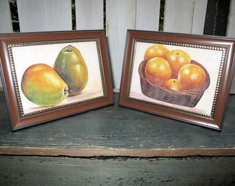 "Still Life Paintings of Oranges and Pears, Watercolor on Silk by the Artist, Kapil, Pair-Framed-6.5""x 8.5""inches"