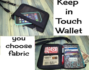 Cell Phone Wallet Wristlet • iPhone • CUSTOM • Keep in Touch Wallet • (1b)