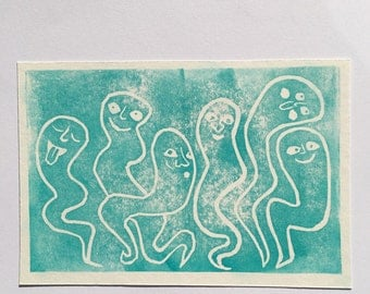 Guests / Turquoise Lino Cut on Artist Grade Paper Ghost Print / Handprinted Artwork