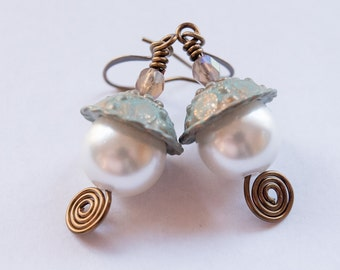 Pearl Earrings, Dangle, Vintage Inspired, Gift for Her