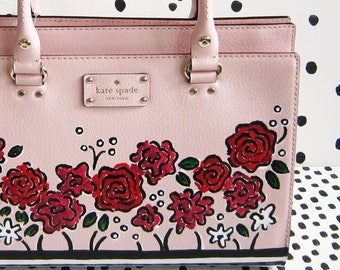 PINK POSIES Hand-Painted Purse