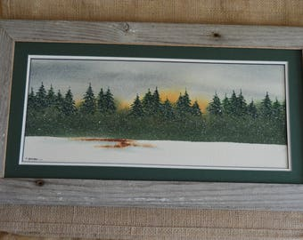 Winter Pine Tree Forest (Framed) 8x16