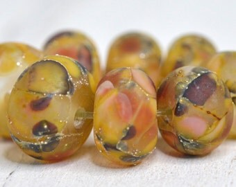lamp work beads...SRA handmade, fall shades of lampwork beads, earthy colors, beads set of (8) for making jewelry 111416-4