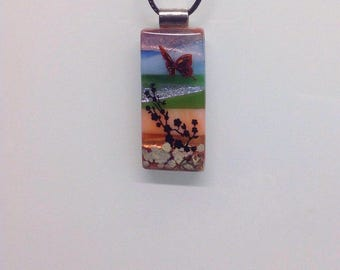 Butterfly Garden Rectangle Fused Glass Pendant Necklace