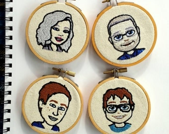 Personalized Stitched Bit-Emoji Family Christmas Ornaments or Wall Hangings