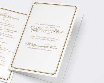Gold Wedding Program, Order of Service, Catholic Ceremony, Catholic Wedding, Booklet Program, Gold Program, Gold Wedding Program, Printable