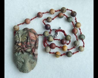 New Design!!! Mermaid Pendant,Carved Multi-Color Picasso Jasper Loose Bead,1 Strand,31CM In The Length,61x34x12mm,9x9mm,71g(e0620)